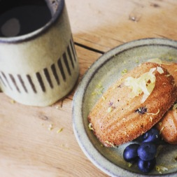 Blueberry and stem ginger madeleines
