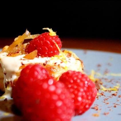 Ginger Portugese tart with coffee mascarpone