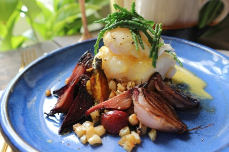 Potato parmentier hash with blackened shallots, beetroot. Hake, samphire and hollandaise