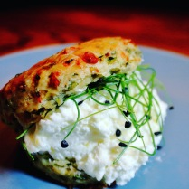 Courgette & parsley scones with lemon ewes curd